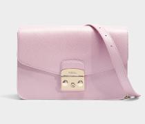 Kleine Schultertasche Metropolis aus rosa Kalbsleder