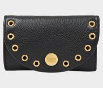 See by Chloé Kriss Compact Geldbörse aus schwarzem Kalbsleder
