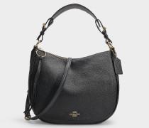 Tasche Sutton Hobo aus schwarzem Kalbsleder