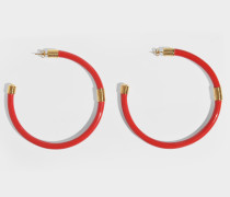 Katt Hoops Earrings in Gold-Plated Brass and Red Bakelite