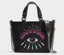 Handtasche Icon Top Handle aus schwarzem Kalbsleder