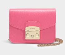 Mini Umhängetasche Metropolis aus rosa Kalbsleder