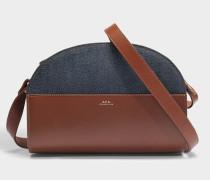 Handtasche Demi-Lune aus braunem Kalbsleder