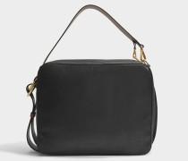 Shoulder Tasche aus schwarzem Marroon Kalbsleder