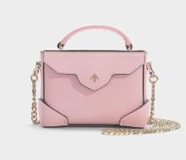 Handtasche Micro Bold Combo mit Kettenriemen aus rosa Kalbsleder