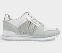 Sneaker Billie Trainer aus perforiertem Leder, technischem Stoff und und jadegrünem, verspiegeltem Metallic Leder