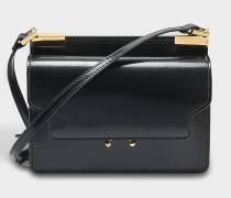 Micro Trunk Tasche aus schwarzem Glazed Kalbsleder