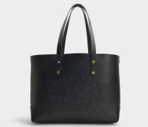 Kleine Shopper mit Crest Geprägt aus schwarzem Kalbsleder