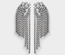 Large Crystals Cascade Clip Ohrringe aus Ruthenium und Kristallen