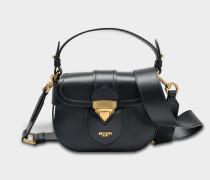 Hidden Lock Small Shoulder Bag aus schwarzem Kalbsleder