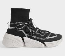 K-Sock Slip On Turnschuhe aus schwarzem Polyester