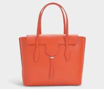 Shopper mit zwei Henkeln Anx Media aus orangem Kalbsleder