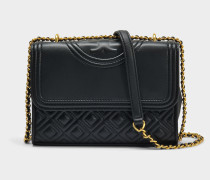 Fleming Small Convertible Shoulder Bag aus schwarzem Lammleder