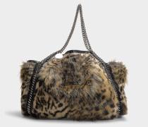 Kleiner Shopper Falabella Tote aus Fake Fur Leopard