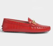 Double T Gommino Print Moccasins mit rotem Krokodilmuster aus Kalbsleder