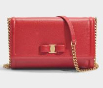 Kleine Handtasche mit Taschenklappe Ginny aus rotem Kalbsleder