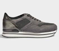 Sneaker H222 aus Samt und Mesh mit silbernen Pailletten