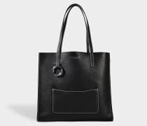 The Bold Grausd Shopper Tasche aus schwarzem Kuhleder