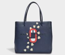 EW Logo Shopper Tasche aus dunkelblauem Split Kuhleder mit Polyurethan Coating