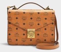 Schultasche Patricia Medium aus Stoff Cognac