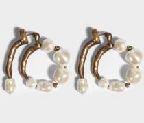 Hoop Ohrringe mit Perlen aus goldfarbenem Messing