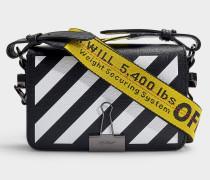 Handtasche Diag Mini Flap aus schwarzem und weißem Kalbsleder
