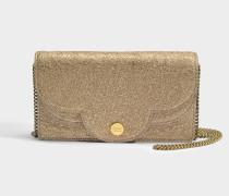 See by Chloé Polina Evening Tasche aus sandfarbenem braunem metalloptischem Kuhleder