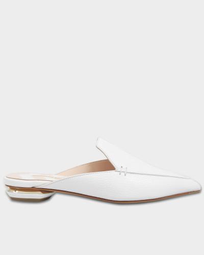 18Mm Beya Flat Mule Schuhe aus weißem Kalbsleder