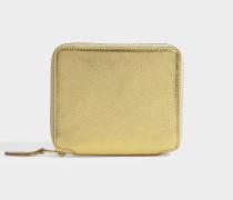 Quadratisches Portemonnaie mit Zip aus goldenem Kalbsleder