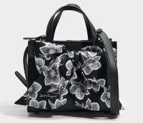 Foulard Tote Bag aus schwarzem Dolce T Leder