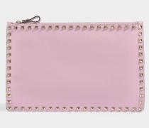 Clutch mit Kette Rockstud aus rosa Kalbsleder