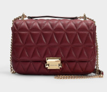 Sloan Large Chain Shoulder Bag in Burgundy Quilted Lambskin