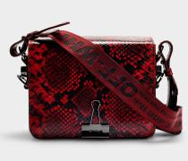 Handtasche mit Taschenklappe Flap Python aus rotem Kalbsleder