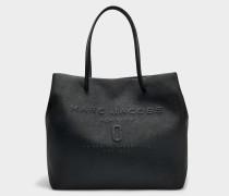 EW Logo Shopper Tasche aus schwarzem Split Kuhleder