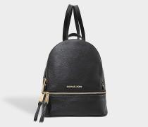 Rucksack mit Reißverschluss Rhea Medium aus schwarzem Kalbsleder