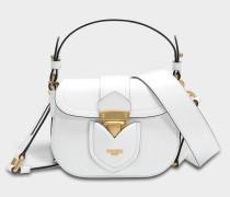 Hidden Lock Small Shoulder Bag aus weißem Kalbsleder