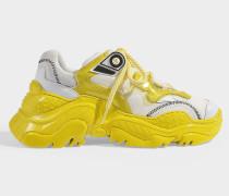 Sneaker Oversized Billy aus weißem und gelbem Kalbsleder