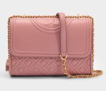 Fleming Small Convertible Shoulder Bag aus rosanem Magnolia Lammleder