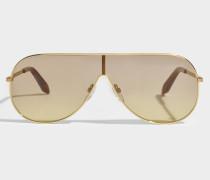 Grooved Metall Visor Sonnenbrille aus braunem Metall