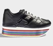 H352 Maxi Platform Mignon Sneaker aus schwarzem und mehrfarbigem Leder