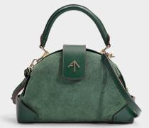 Handtasche Demi aus Samt und pflanzlich gegerbtem Kalbsleder in Grün