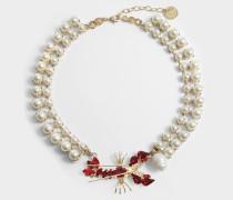 Pearl und Lobster Choker aus pearl- goldfarbenem und rotem Metall
