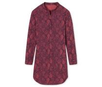 Sleepshirt langarm Webware Viskose floraler Print brombeere - Allure