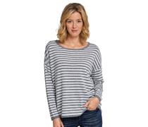 Pullover Strick Ringel graumelange-weiß - selected! premium