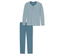 Schlafanzug lang Ringel Knopfleiste blaugrün-hellgrau - Ostuni