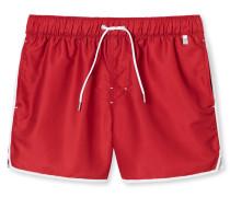 Swimshorts Webware rot mit weißen Kontraststreifen - Aqua Rimini