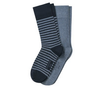 Herrensocken 2er-Pack Ringel jeansblau - Cotton Fit