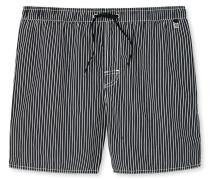 Swimshorts Webware schwarz-weiß gestreift - Aqua
