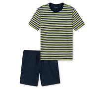 Schlafanzug kurz Jersey merzerisiert mehrfarbig geringelt - Lights on Blue