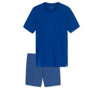 Schlafanzug kurz royalblau - Long Life Soft